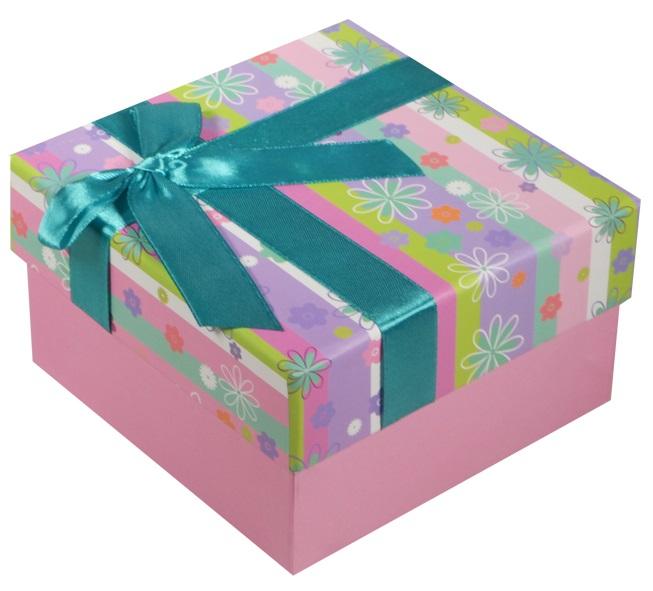 """Коробка подарочная """"Полосы с цветами"""", 9*9*5.5см"""