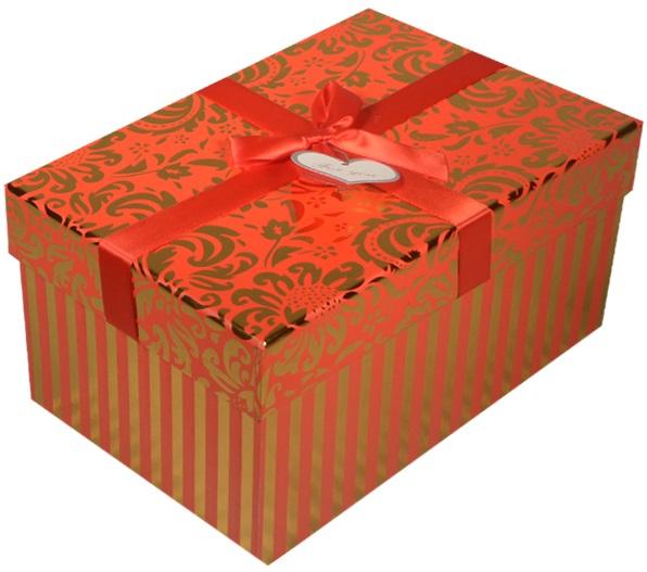 """Коробка подарочная """"Узор"""" металлик на красном, 16*11*7,5см"""