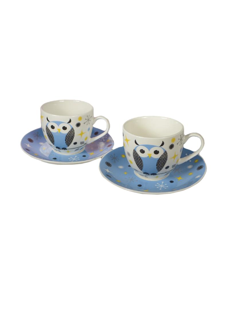 Набор кофейный Совушка голубой на 2 персоны в подарочной упаковке (727-077) (Авангард)