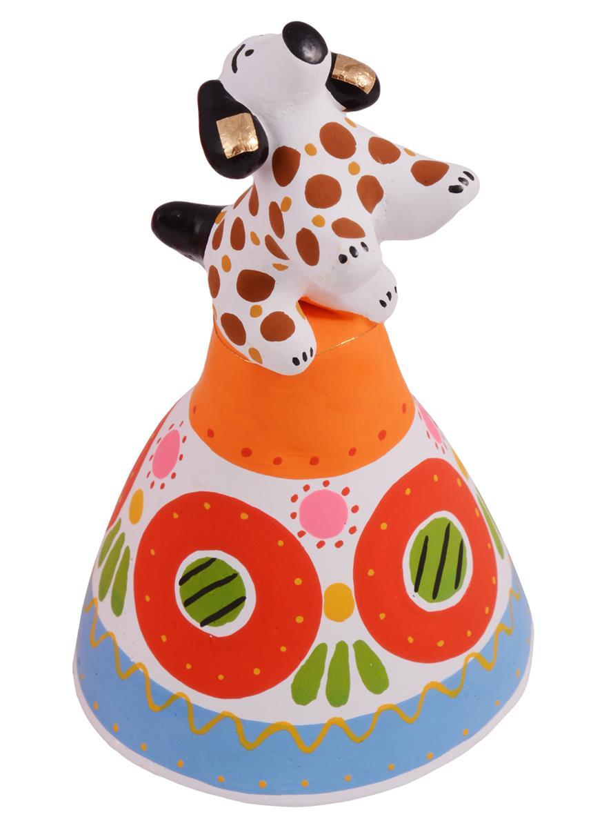 Дымковская игрушка Собачка на колокольчике