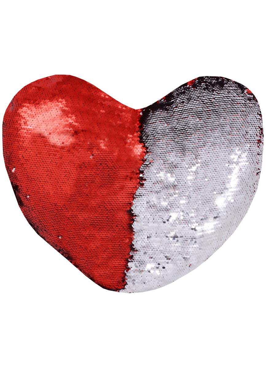 Подушка с пайетками Сердце красное с серебром (45х45)