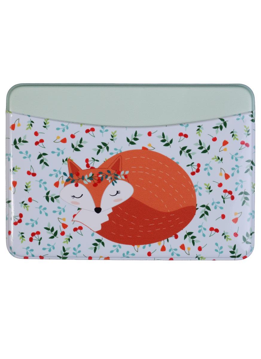 Чехол для карточек горизонтальный Спящая лиса с вишенками