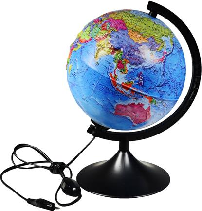 Глобус политический, рельефный, с подсветкой, D21см