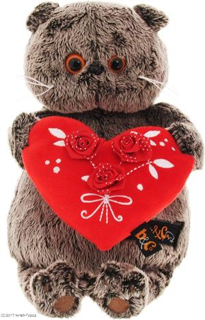 Мягкая игрушка Басик с красным сердечком (22 см)