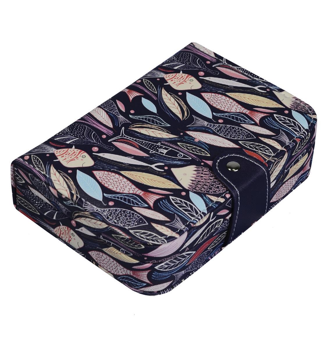 Шкатулка для украшений с кнопкой кожзам Рыбки (5х20х14)