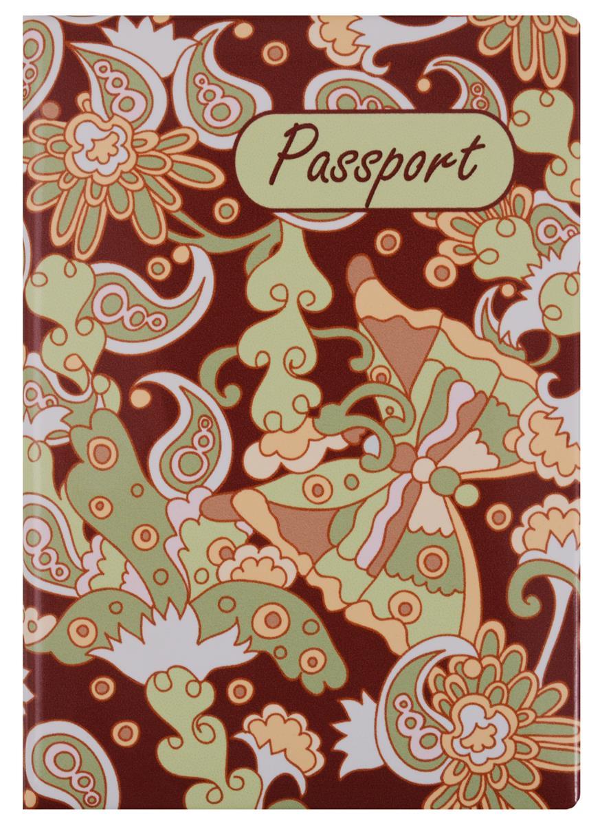 Обложка для паспорта Узор Пейсли и бабочка