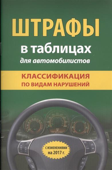 Штрафы в таблицах для автомобилистов. Классификация по видам нарушений. С изменениями на  2017 г.