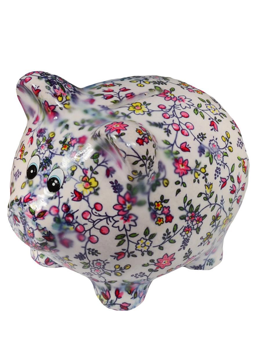 Копилка Свинка с цветочным узором большая (керамика) (13х11,5) (12-06789-С5)