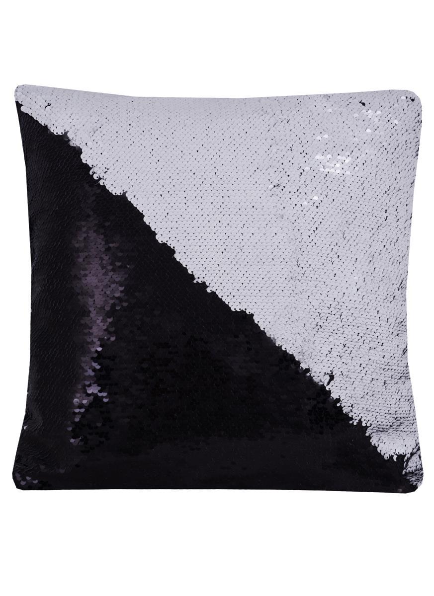 Подушка с пайетками белая с черным (37х37)