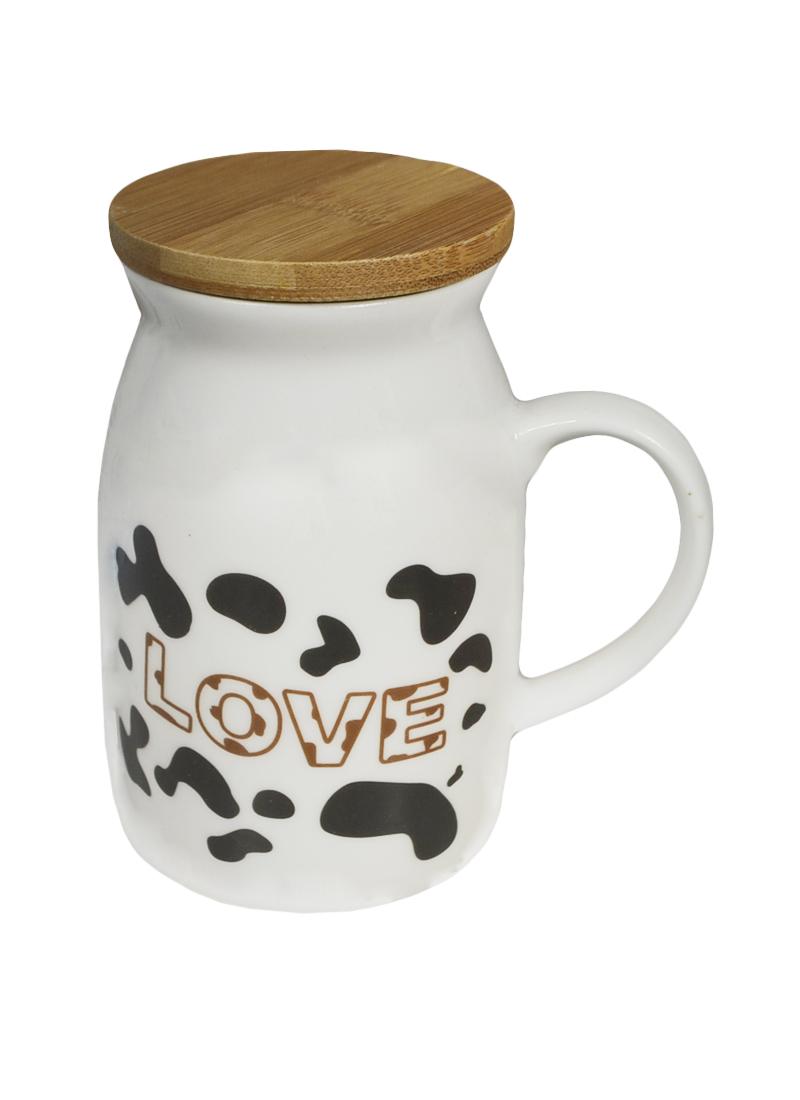 Кружка с коровой 4 с бамбуковой крышкой (003062) (Карамба)