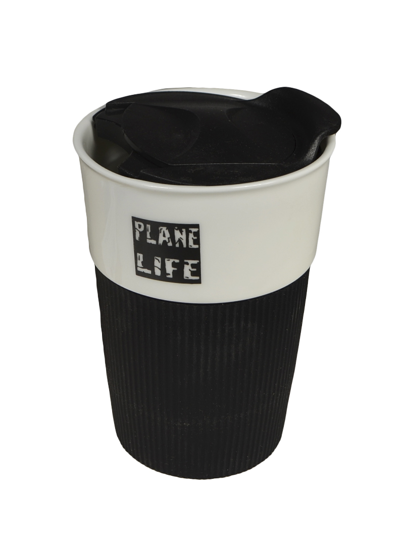 Стакан с черной силиконовой вставкой Аэроплан (003082) (Карамба)