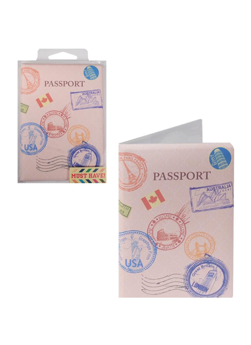 Обложка для паспорта Печати разных стран (ПВХ бокс)