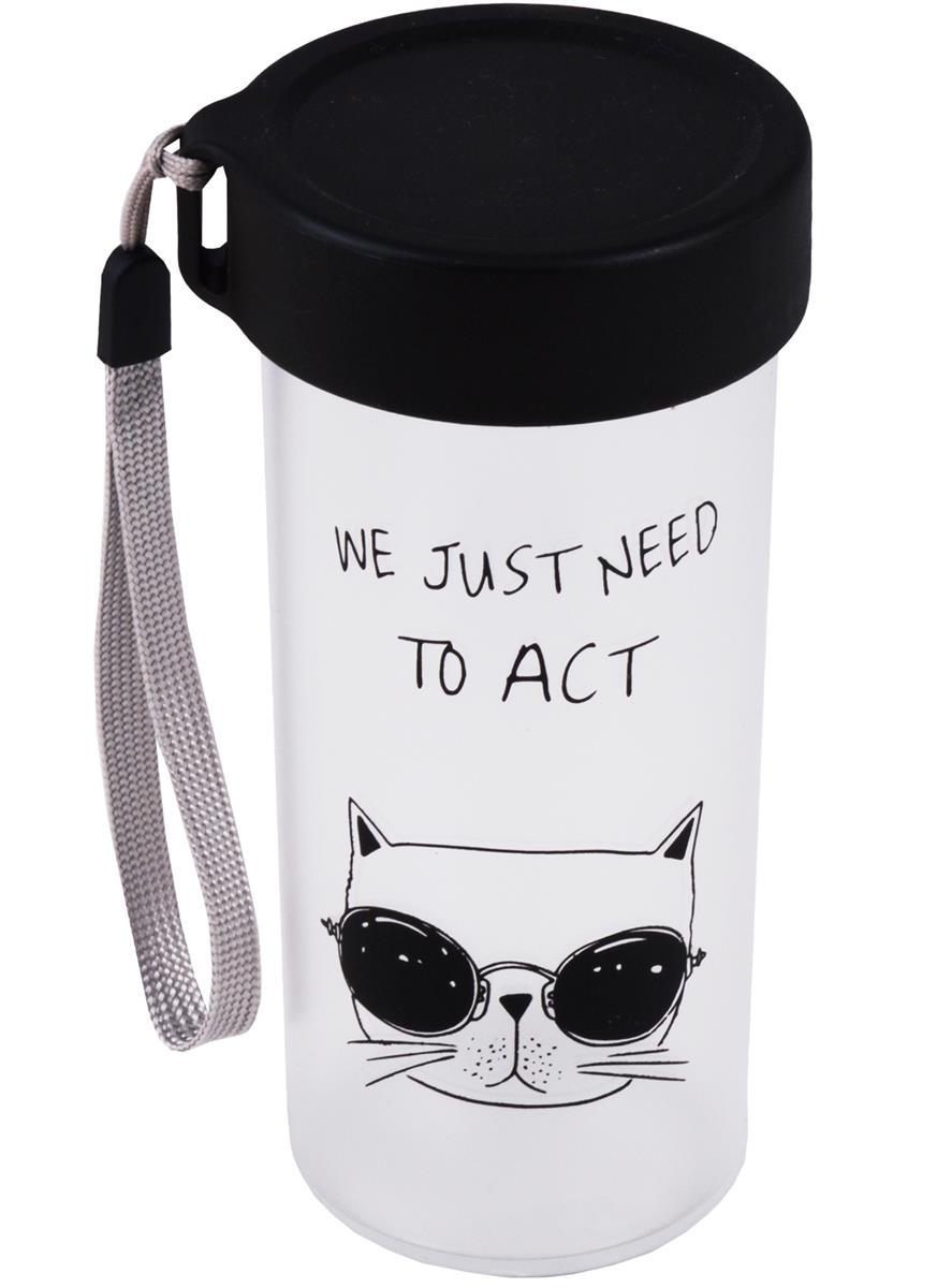 Бутылка с подвесом Коты (пластик) (360мл)