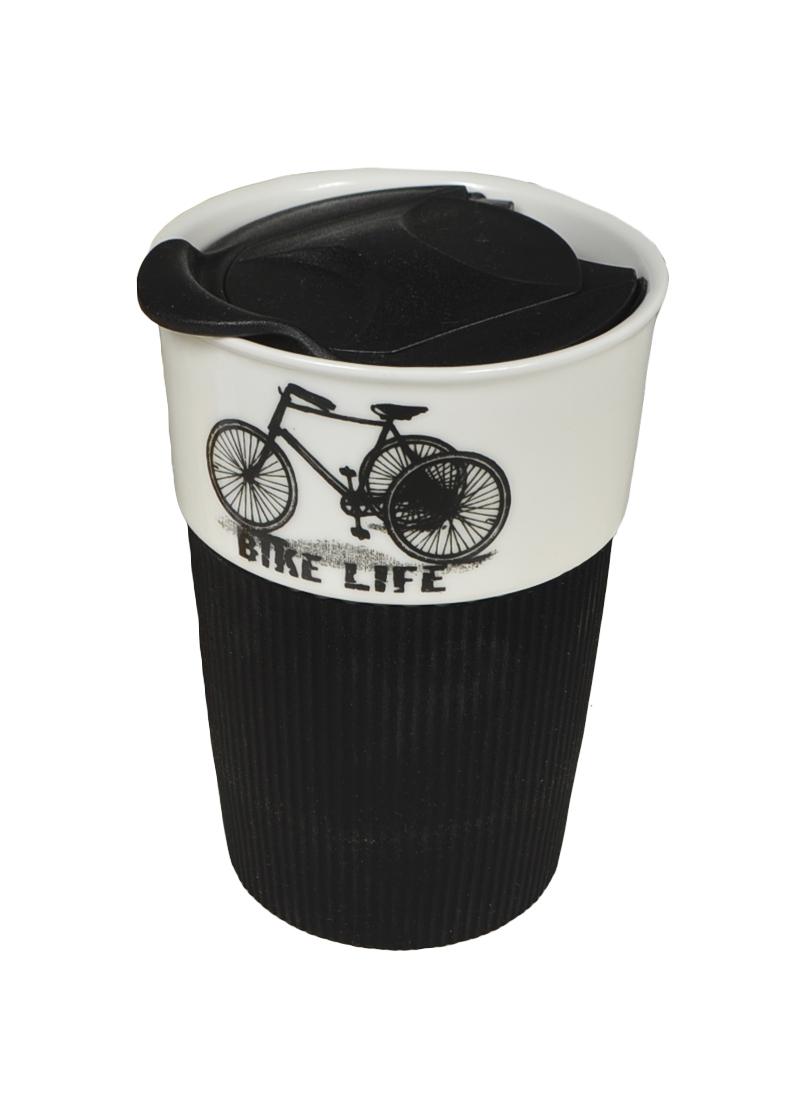 Стакан с черной силиконовой вставкой Велосипед (003083) (Карамба)
