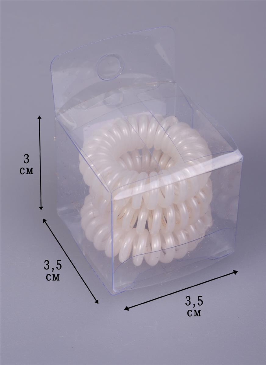 Резинка-браслет для волос белая (3шт) (ПВХ бокс)