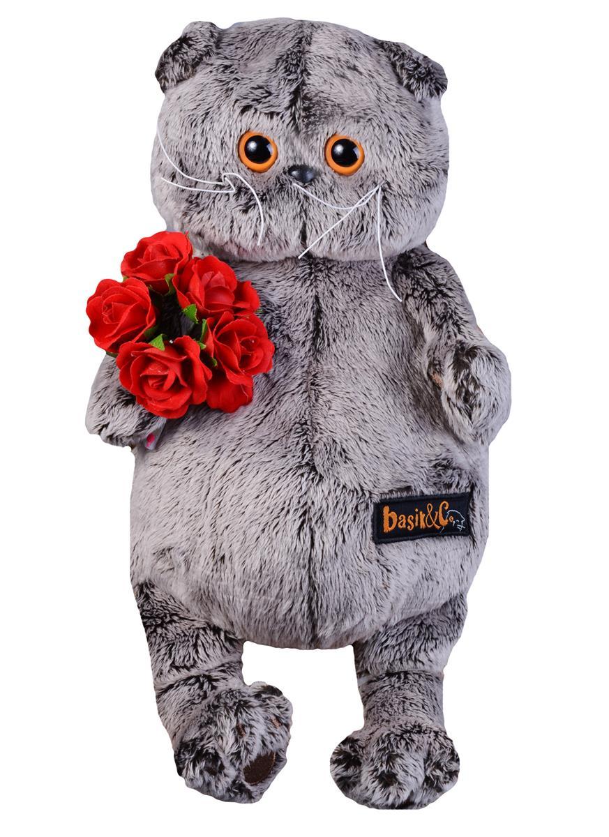 Мягкая игрушка Басик с букетом красных роз (22 см)