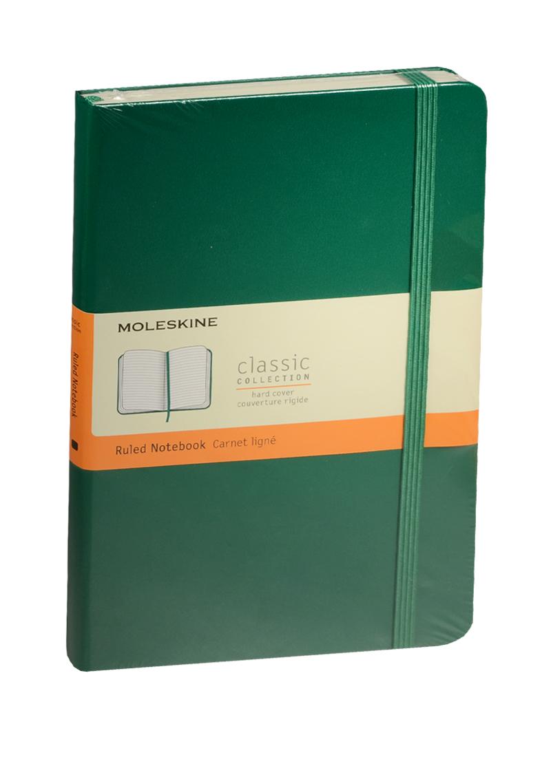 """Книга для записей А5 120л лин. """"Classic Large"""" зеленая, жесткая обложка, резинка, Moleskine"""