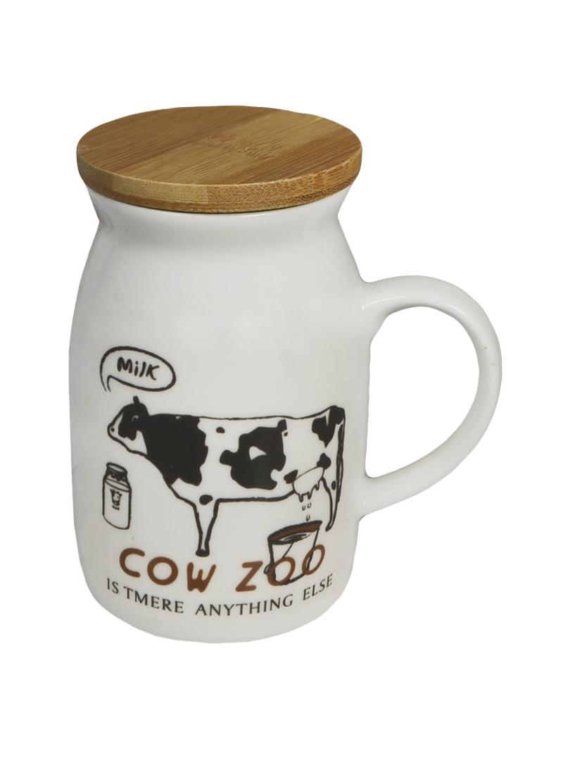 Кружка с коровой 5 с бамбуковой крышкой (003063) (Карамба)