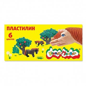 Пластилин 06цв 90гр к/к, стек, Каляка-Маляка