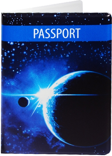 """Обложка для паспорта """"Космос. Планета на синем фоне"""""""