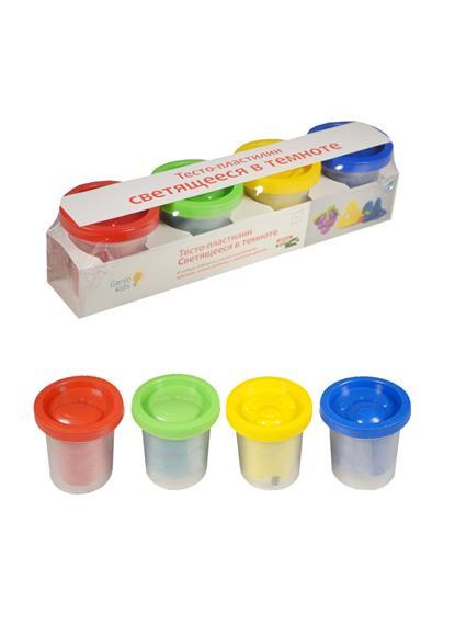 Набор для детской лепки Тесто-пластилин Светящееся в темноте (ТА1021) (4 цвета) (3+) (упаковка)