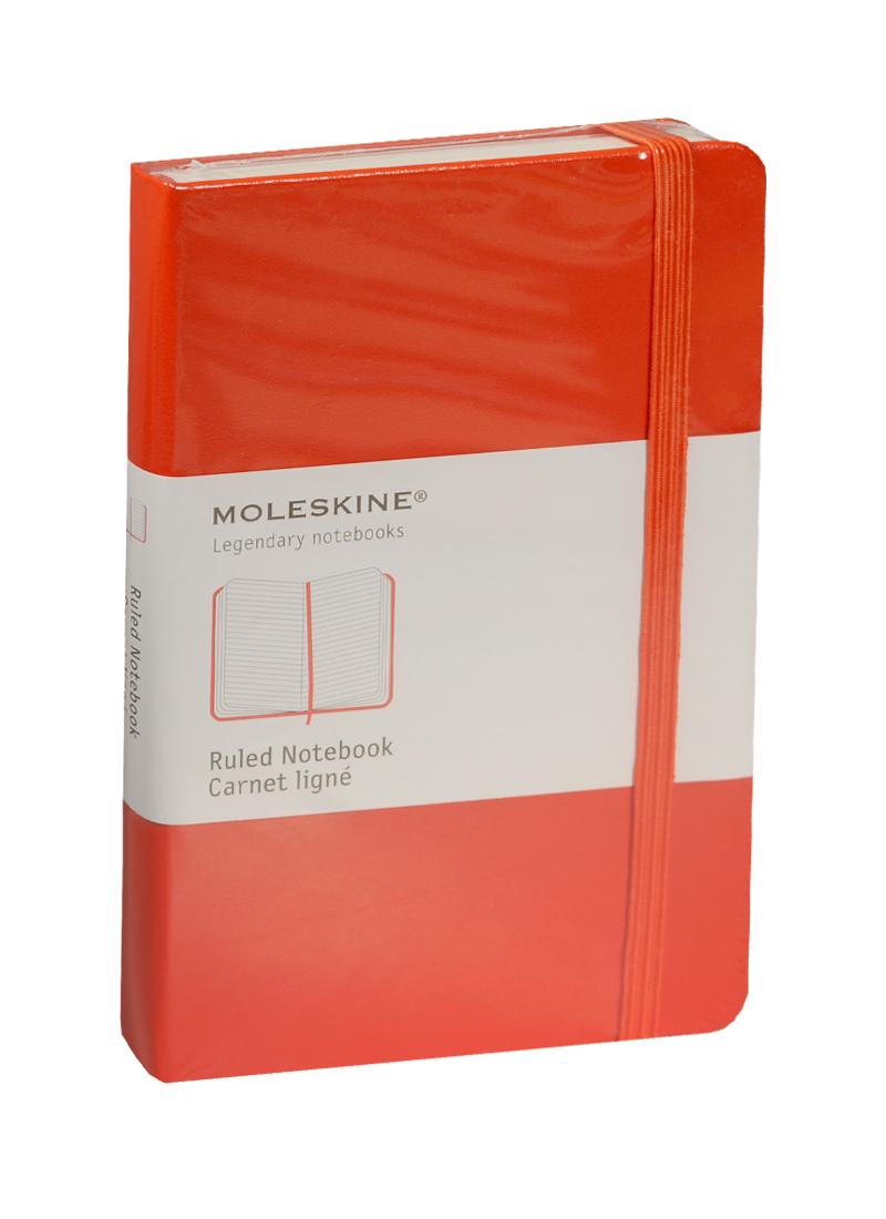 """Записная книжка А6 96л лин. """"Classic Pocket"""" красная, жесткая обложка, резинка, Moleskine"""