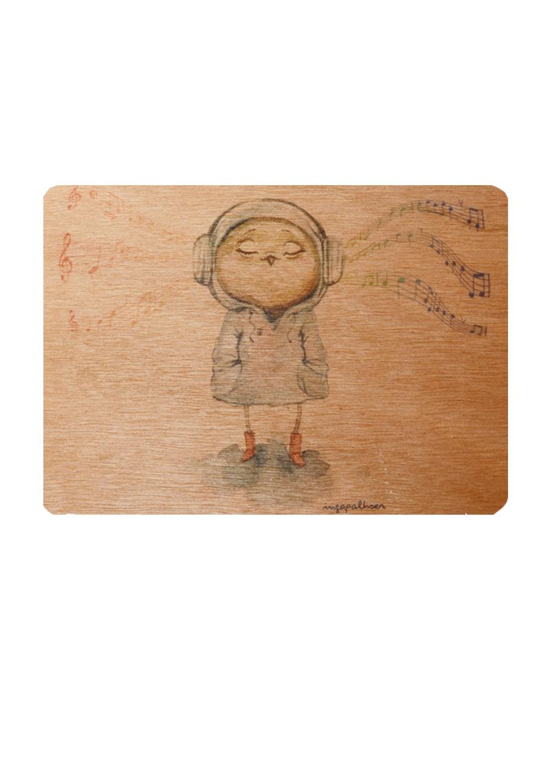 Открытка деревянная Сова Музыка (Инга Пальцер)