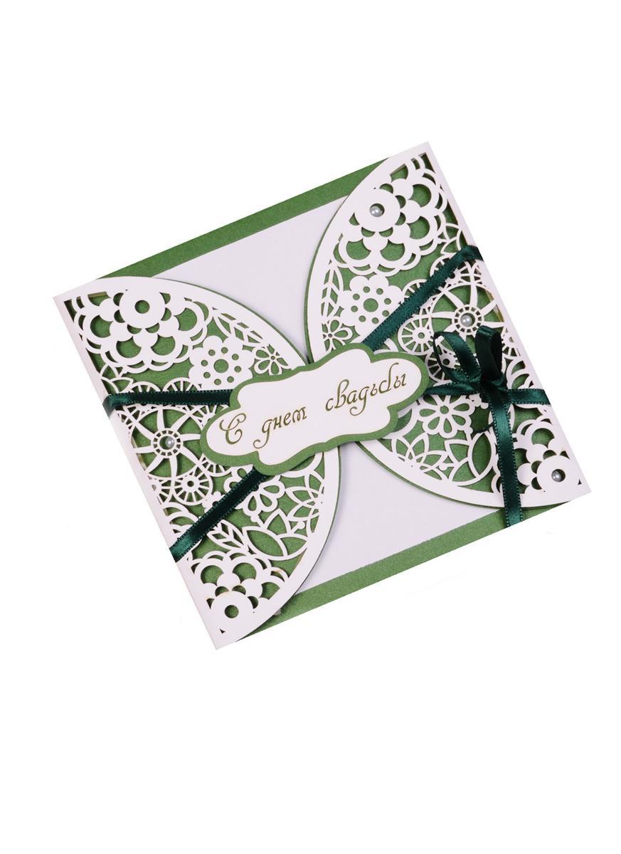 Открытка ДК С Днём Свадьбы Зеленый узор на белом фоне