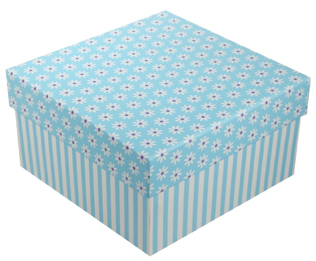 """Коробка подарочная """"Ромашки c полосками"""" голубая, 13*13*7.5см"""