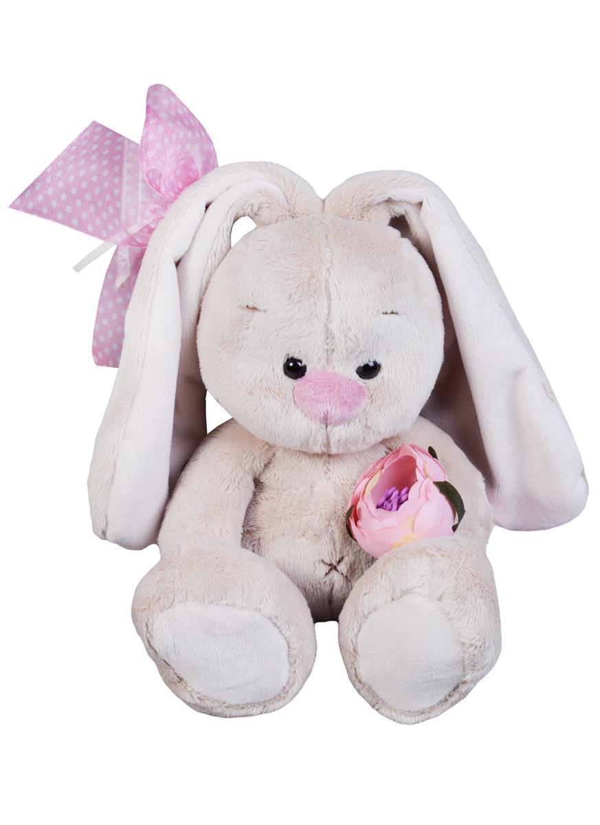 Мягкая игрушка Зайка Ми с винтажной розой (15 см)