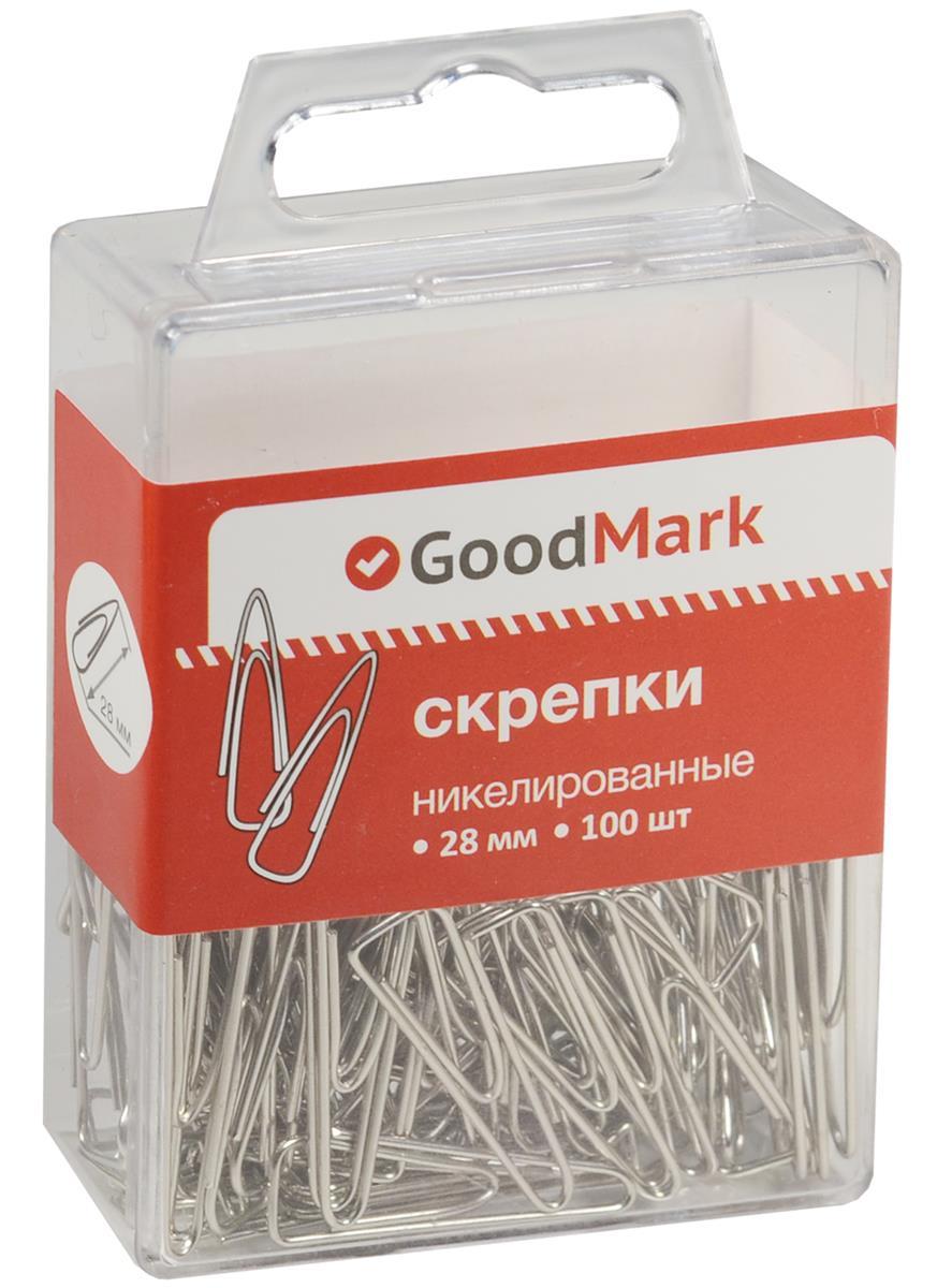 Скрепки 28мм 100шт, никел., треугольные, пл/уп. GoodMark