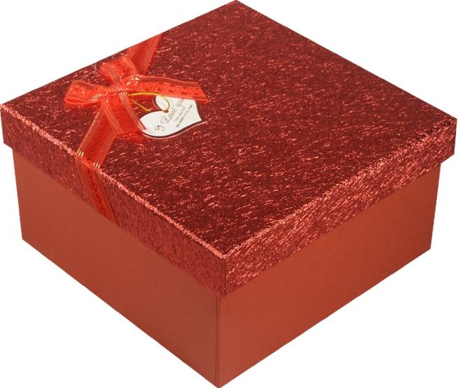 """Коробка подарочная """"Красный металлик"""" с сердцем 12,5*12,5*6см"""