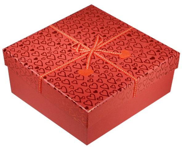 """Коробка подарочная """"Фетровые сердечки"""" 15*15*7см"""