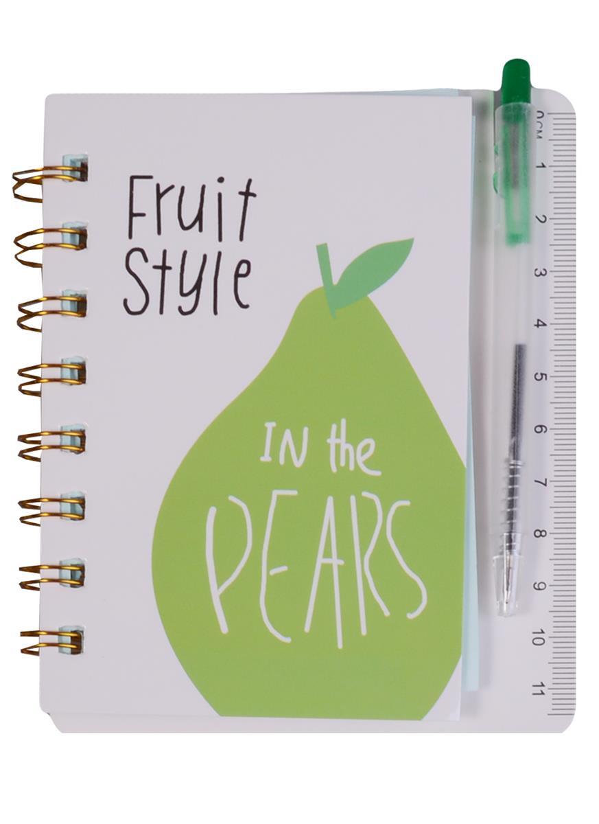 """Записная книжка А6 55 листов линейка """"Fruit Style"""" с ручкой"""