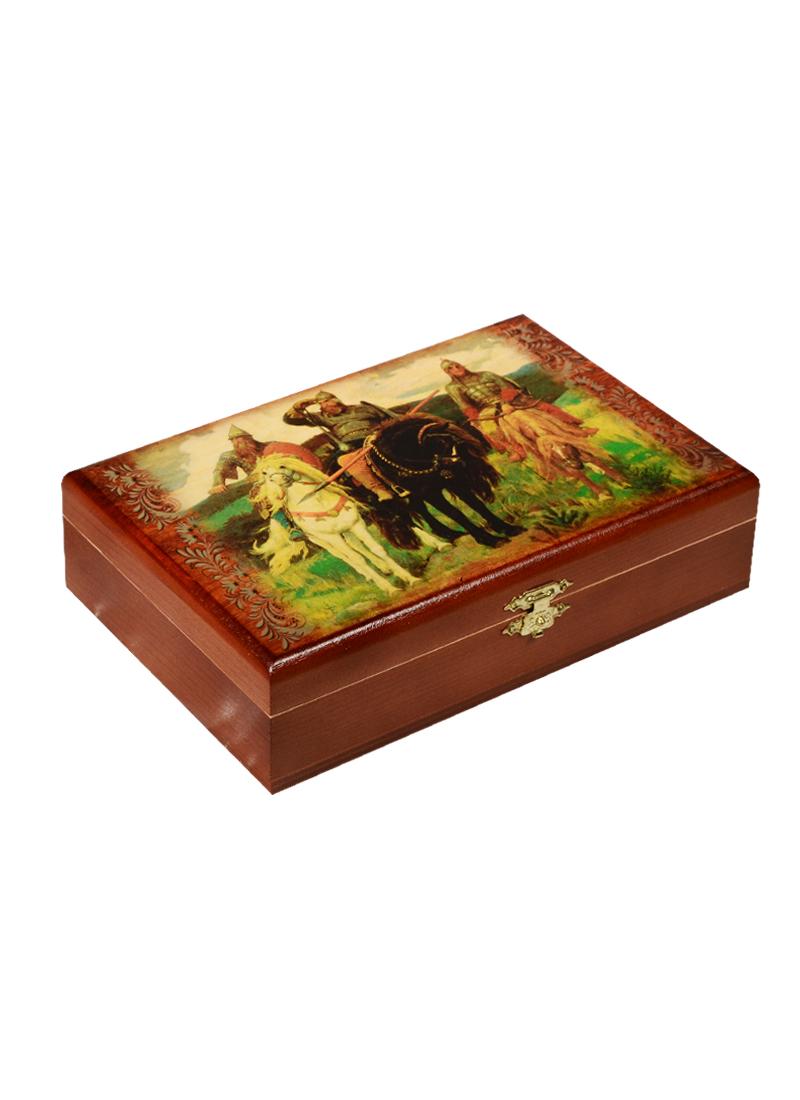 Игра Домино в деревянной шкатулке Три богатыря (21х13х5) (123-081)