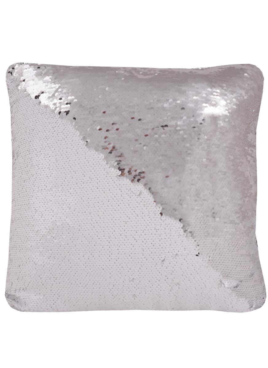 Подушка с пайетками белая с серебром (37х37)