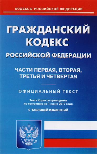 Гражданский кодекс Российской Федерации. Части первая, вторая, третья и четвертая. Текст кодекса приводится по состоянию на 1 июня 2017 года