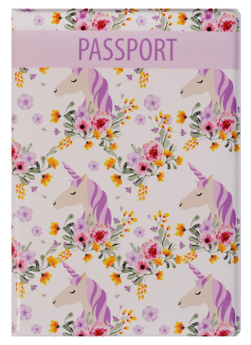 Обложка для паспорта Единороги с цветами