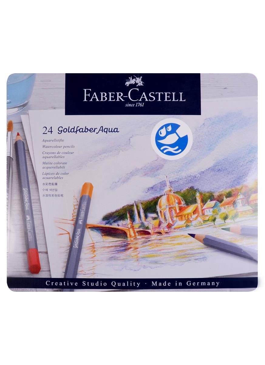 Карандаши акварельные 24цв Goldfaber Aqua, метал.кор, Faber-Castell