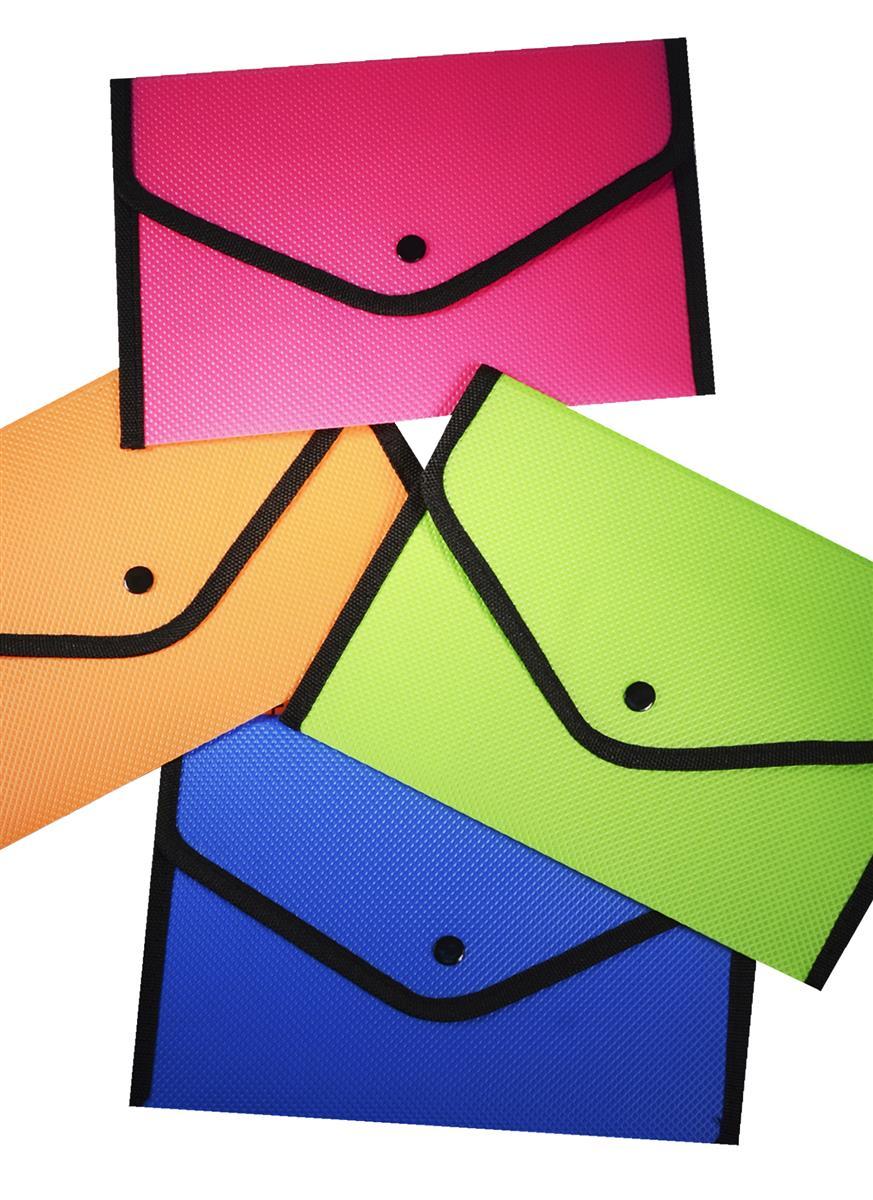 Папка-конверт А5 на кнопке с окантовкой,  пластик 0,5мм, ассорти