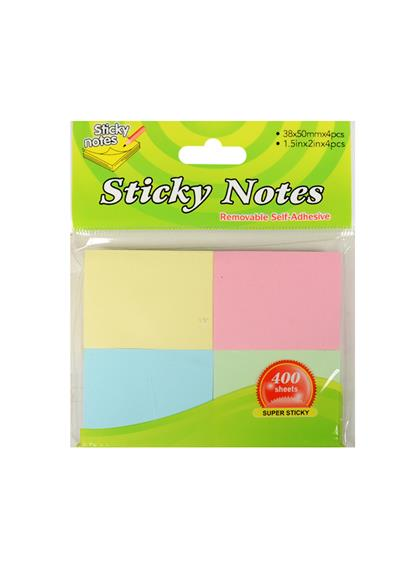 Блок бумаги 38*50мм самоклеящийся, 4цв*100шт, пастель, ShanJia