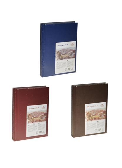 """Скетчбук А6 62л """"Travelling sketchbook""""  слоновая кость, рисов.бумага 130г/м2, книжный п-т, Гознак"""