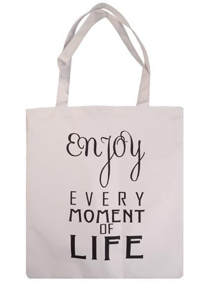 Сумка на молнии Enjoy every moment (белая) (37х38)