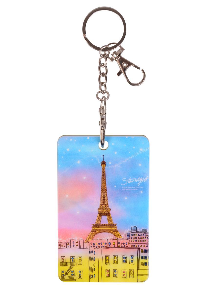 Чехол для карточек с карабином Ночной Париж (пластик) (ПВХ бокс)