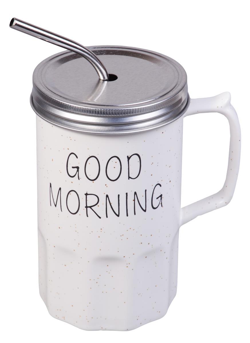Кружка с крышкой и трубочкой Good Morning (керамика) (400мл)