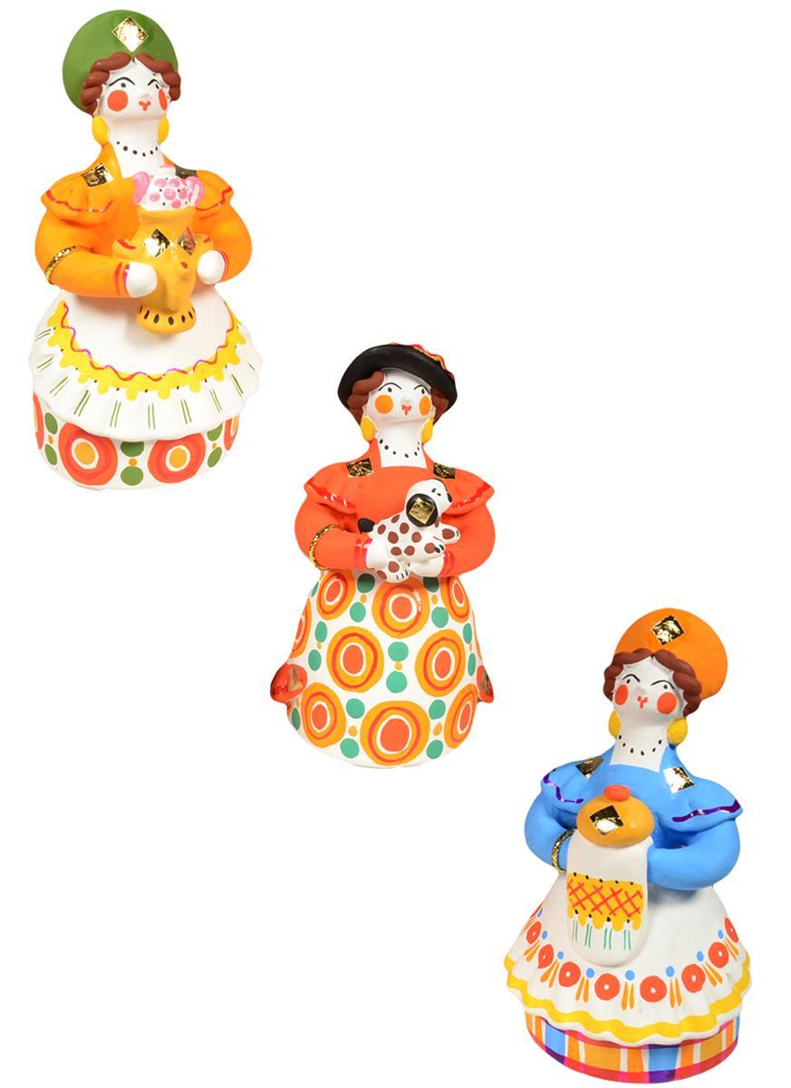 Дымковская игрушка Барыня №1 (10 см)