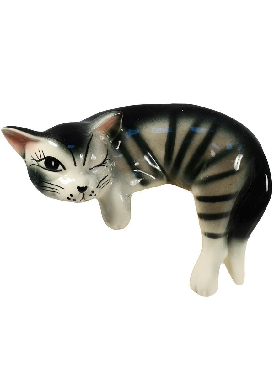 Фигурка керамика Кот Ленивец лежит серый (12 см)