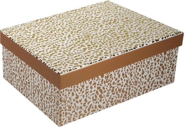 """Коробка подарочная """"Пятнышки"""" желтый металлик 23*16.5*9.5см"""