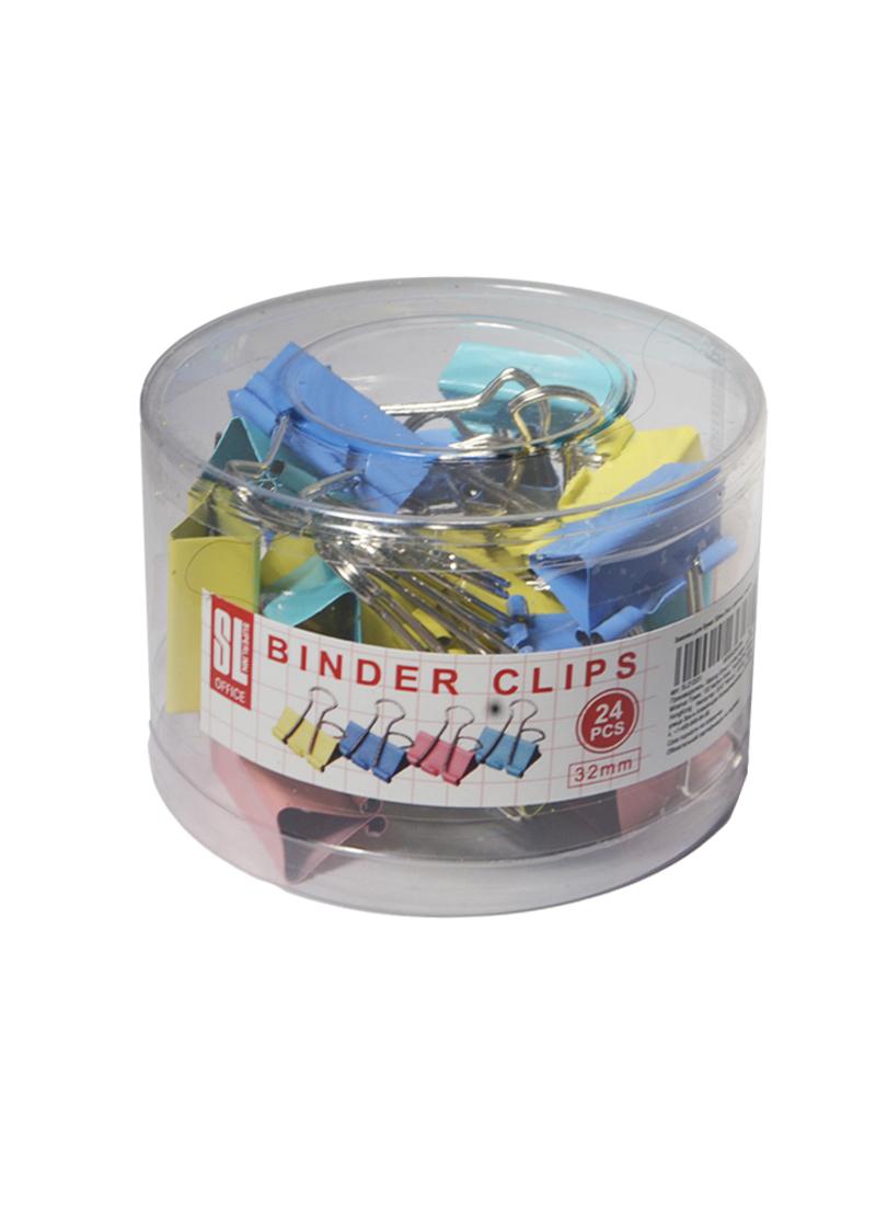 Зажимы для бумаг 32мм 24шт цветные, пласт/уп, GoodMark