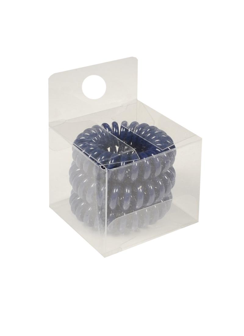 Резинка-браслет для волос темно-синяя (3шт) (ПВХ бокс)